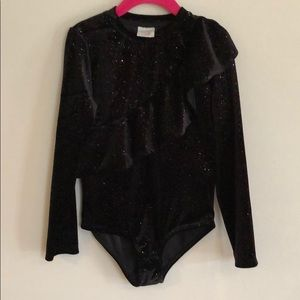 Zara Girls Sparkle Velour Bodysuit size 8